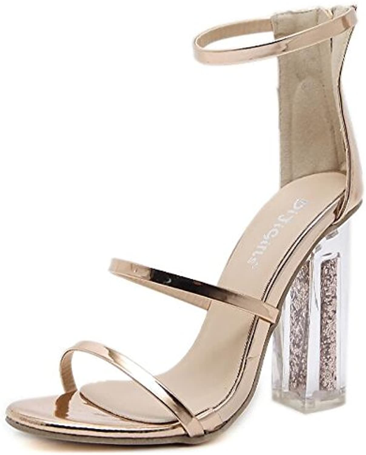 Women's shoes PU Spring Summer Basic Pump Comfort Sandals Chunky Heel for Casual gold