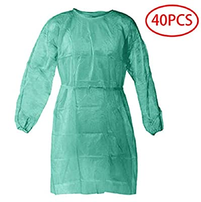 40 Pcs Disposable Isolation Gowns with Elastic Cuffs, Protective Gowns with Long Sleeves, Neck and Waist Ties, Examination Gowns, Splash Resistant Protective Suit