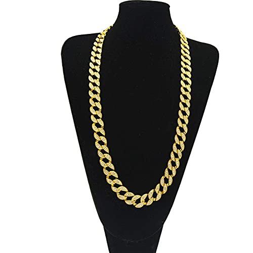 AMOZ Miami Cuban Collar Chapado en Oro con Diamantes de Imitación Helados Completos, Cadena de Eslabones Cubanos para Hombres Y Mujeres, Gargantilla de Rock de Moda Exagerada de Hip Hop, Oro, 22 Pulg