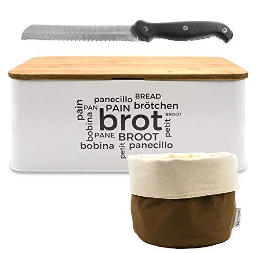myHodo Brotbox Set 3-in-1 mit Metall Brotkasten, Stoff Brötchenkorb, Brotmesser, Bambus Holz Schneidebrett - Brottopf, Brotbehälter, Brotkorb mit Deckel zur Brotaufbewahrung, 34x19x13cm weiß-braun