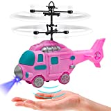 YongnKids Hélicoptère de fée Volante Rose, Cadeaux de Jouets pour Filles de 6 7 8 9 Ans, Jouet de Drone à Balle Volante avec Mains Libres