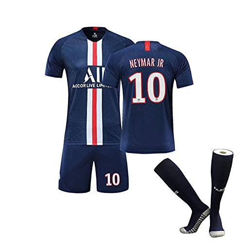 HRZHYHB Traje de fútbol Niños Adultos Paris Jersey Manga Corta Uniforme de fútbol Traje Masculino 7# Mbappé 10# Traje Entrenamiento Uniforme fútbol Infantil Neymar