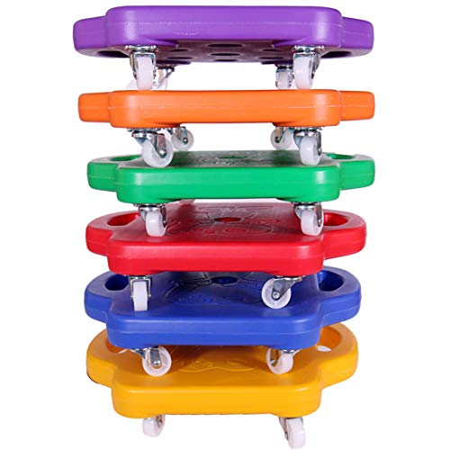 LWKBE Kids Scooter Board Set of 6,Educational Manual Plastic Scooter Board with Handles and Rotation Wheels for Physical Education Class,16.515.73.9inch