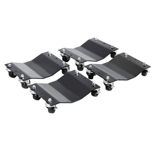 Car Dollies – Under Vehicle Tire Skates with Heavy Duty Roller Wheel Casters – For Moving, Positioning Vehicles or Boats by Pentagon (Set of 4, Black)