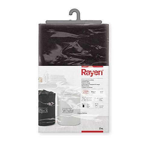 Rayen Cestos para la Colada   Impermeables y Resistentes   con Asas   70 l de Capacidad   Colores Blanco y Negro   Pack de 2 Unidades   Dimensiones: 55 x 40 cm, 55 cm de Alto x 40 cm de diámetro
