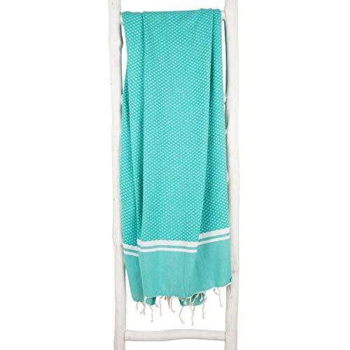 ZusenZomer Hamamtuch SOUSSE 100x190 Meeresgrün - Fouta Hammam Tuch Sauna Pestemal XXL - 100% Hochwertige Baumwolle - Fair Trade Hamamtücher