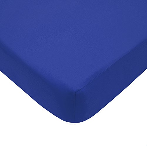 TL Care 100% Natural Cotton Percale Fitted Crib Sheet for Standard Crib and Toddler Mattresses, Royal, 28 x 52, Soft Breathable, for Boys and Girls