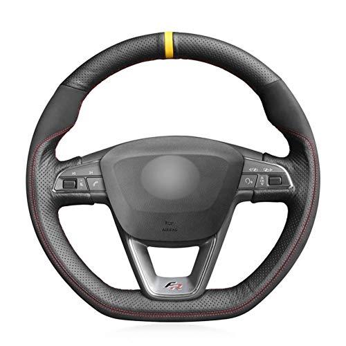 OPOPDLSA Cuero Genuino Negro Suede Cubierta del Volante del Coche para Seat Leon Cupra R 2013-2019 Leon ST Cupra 2013-2019 Ateca FR 2016-2019