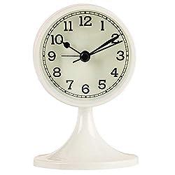 Queena Retro Round Silent Alarm Clock Non-Ticking Battery Operated Desk Clock for Bedroom White