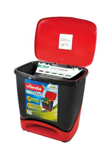 Vileda Cubo Ecologic - Cubo de Basura ecológico Especial para Reciclaje, múltiples Combinaciones, Capacidad de 39 litros, Color Rojo y Negro