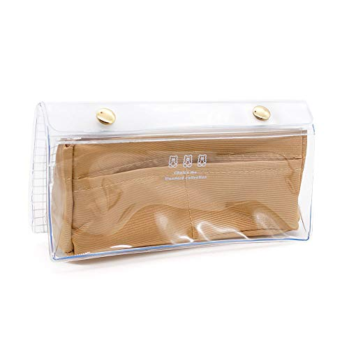 クーリア 筆箱 ペンポーチ ボックス タイプ 中学生 高校生 一般 女の子 向け クリップペンケース ラテ クリア素材 透明