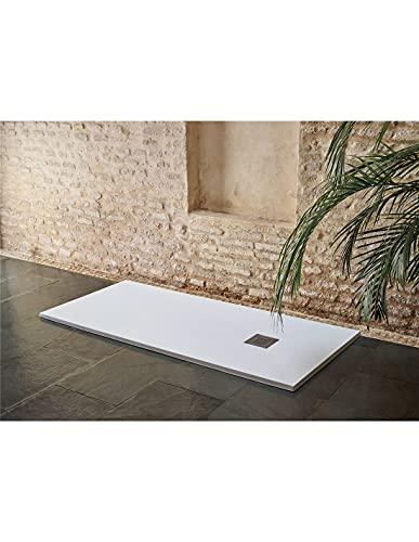 Jardin202 70X180 - Plato de Ducha Textura sillar | Blanco | Desagüe Desplazado