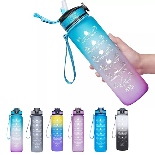 Viogor 32oz Sports Water Bottle With Time Marker & Straw,to Ensure You Drink Enough Water Throughout The Day for Fitness and Outdoor Enthusiasts, Leakproof Durable BPA Free (Blue/Purple, 32oz)