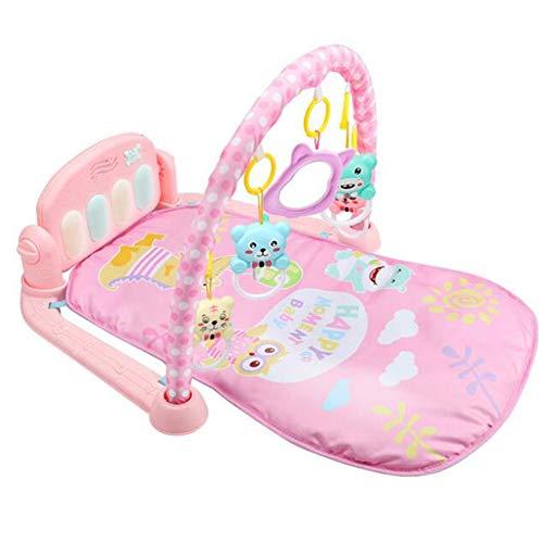 Tapis de Jeu Baby Gym Toys Tapis de Jeu 0-12 Mois Éclairage Doux Hochets Tapis de Musique pour Enfants Cadeaux de bébé Jouet éducatif,Pink