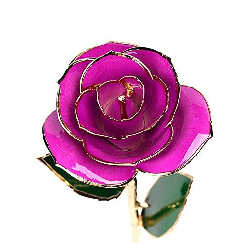 ZPF Oro para Siempre conservado Rosa, Flores Artificiales, Flores de Tallo Largo Eterno con Soporte Transparente, para, Esposa, Mujeres, cumpleaños, Boda, Navidad