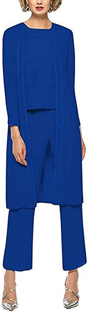 Womens Royal Blue 3 Pieces Chiffon Mother of The Bride Dress with Jacket Pant Suits US26W