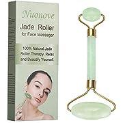 Jade Roller, Rullo di Giada, Jade roller Massager, Rullo di Giada Massaggiatore Facciale, 100% naturale massaggio con rullo di pietra di giada con doppia sfera, Riduci il gonfiore