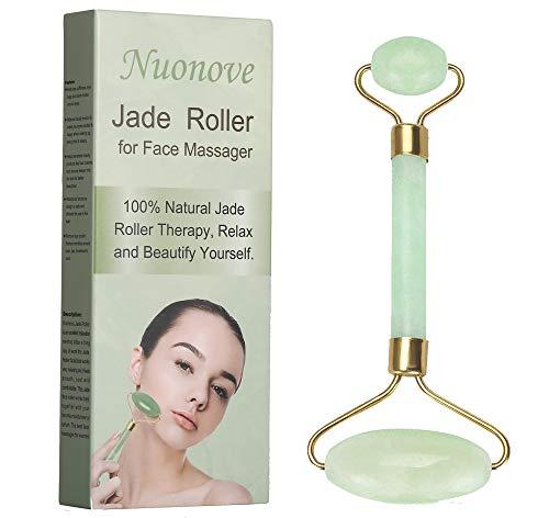 Jade Roller, Jade Roller Massagegerät, Jade Massagestein, Anti-Aging Jade Roller Therapie 100% natürliche Gesicht abnehmen und bewegen Massagegerät