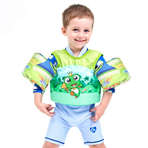 Hutigertech Toddler Swim Vest 30-55 Pounds Boy & Girl, Kids Swim Life Jacket Vest for Pool, Floaties for Toddler, Baby Floats with Arm Wings for Learn-to-Swim Kids Infant