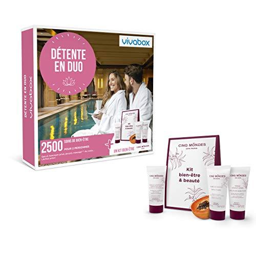 Vivabox - Coffret cadeau couple - DÉTENTE EN DUO - 2500 soins: spa, hammam, massage…+ 1kit fraîcheur