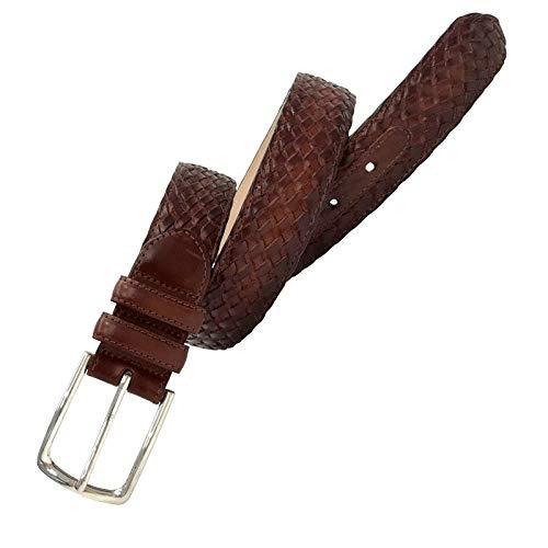 Leyva - Cinturón trenzado de piel de Vaquetilla de hombre (100 cm)