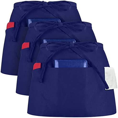 Syntus 3 Pack 3 Pockets Waterdrop Resistant Waitress Waist Apron 11 5 inch Nautical Blue product image
