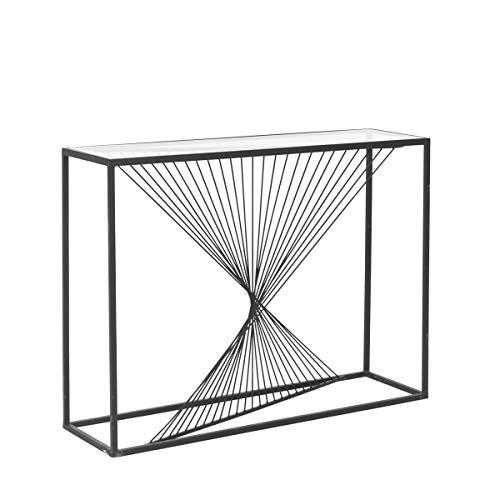 Pureday Konsolentisch Spiro - Beistelltisch - Metall Glas - Schwarz - ca. B107 x T31 x H79 cm