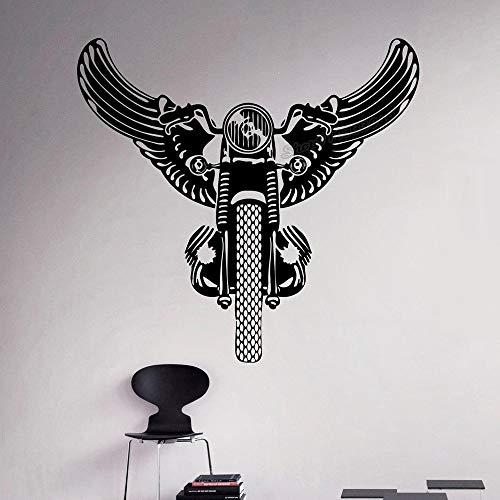 Blrpbc Pegatinas de Pared Adhesivos Pared Vintage Retro Motocicleta Alas Motocicleta Vinilo Home Dormitorio Decoración Ideas Interior Wall Art Decals 84x88cm