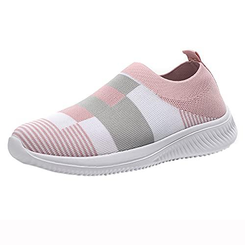 URIBAKY - Zapatillas de senderismo para mujer, transpirables, de malla, zapatos de correr informales, elegantes, transpirables, flexibles y cómodos, para exteriores, fitness, senderismo, rosa, 37 EU