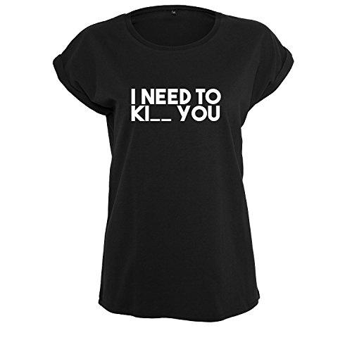 I Need Ki_ You t-Shirt lang Oversize Damen Kurzarm Top Women lässig Sommer schwarz weiß (369-B21-Schwarz-S)