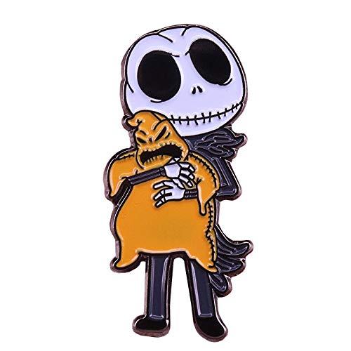 Nacklcema Pesadilla Antes De Navidad Pin De Esmalte Duro Jack Skellington Secuestrar Broche Insignia De Calavera Espeluznante Accesorio De Halloween