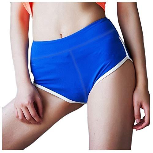 CPNG Yoga-Hose,Sporthose,Frauen Solid Color Elastic Band Sport Laufen Fitness Freizeit Yoga Shorts, Fitness Sport Athletic Pants (Blue,M)
