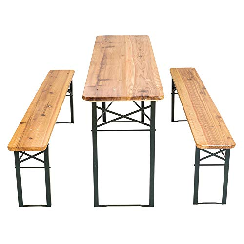Cruise Tech Portable Folding Camping Picnic Trestle Beer Table and Bench Set Garden BBQ Chairs Stools Wooden Wood 120 x 50 x 75 cms