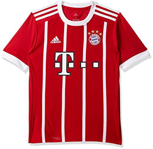 adidas FC Bayern München Home Replica Jersey Youth 2017/18 Camiseta, niños, Rojo/Blanco, 13-14 años