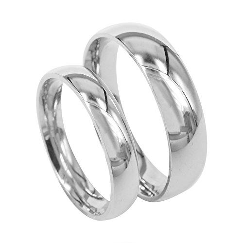Everstone Paar Ringe Trauring Verlobungsringe Titan Poliert Silberne Ringes Größe: 47-76
