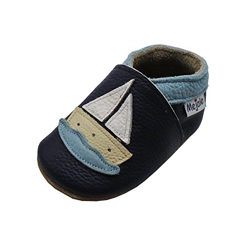 Mejale Karikatur Segelboot Leder Babyschuhe Lauflernschuhe Krabbelschuhe Kleinkind Kinderschuhe Hausschuhe(Dunkelblau, 12-18 Monate, L)