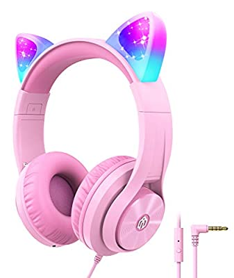 Kids Headphones with Microphone,Cat Ear Led Light Up, iClever HS20 Wired Headphones -Shareport- 94dB Volume Limited, Foldable Over-Ear Headphones for Kids Gifts/School/iPad/Kids Tablet/Travel, Pink from Iclever