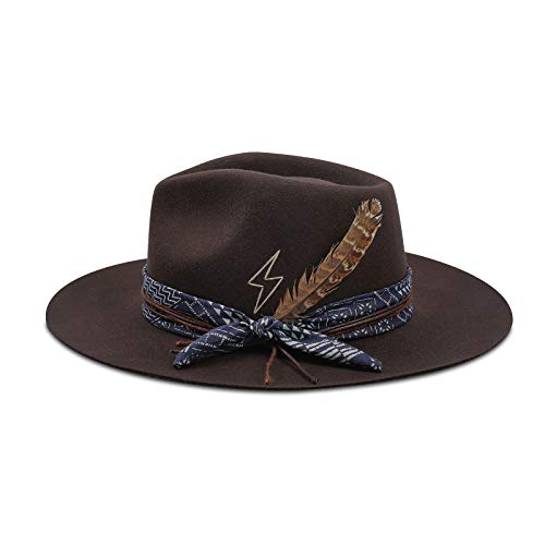 Vintage Fedora Firm Wool Felt Panama Hat Classic Rancher for Men Women Wide Brim Lining Distressed/Burned Handmade Olive