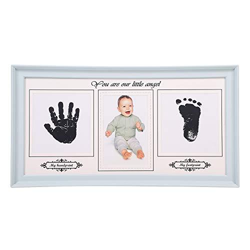 Fotolijst babyafdruk fotolijst baby portretlijst fotolijst met handafdruk voetafdruk kunststof frame babyfoto's fotoalbum staander tafeldecoratie decoratieve lijst voor geschenk 39 x 21.5 cm (LxB) blauw
