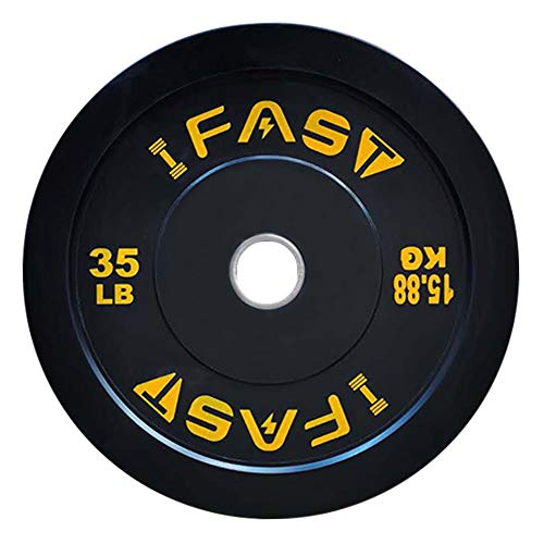 Olympic Barbell Black Rubber Bumper Plates 25lb/35lb/45lb for Strength Training, Weightlifting and Workout, Single (35 LB - Yellow)