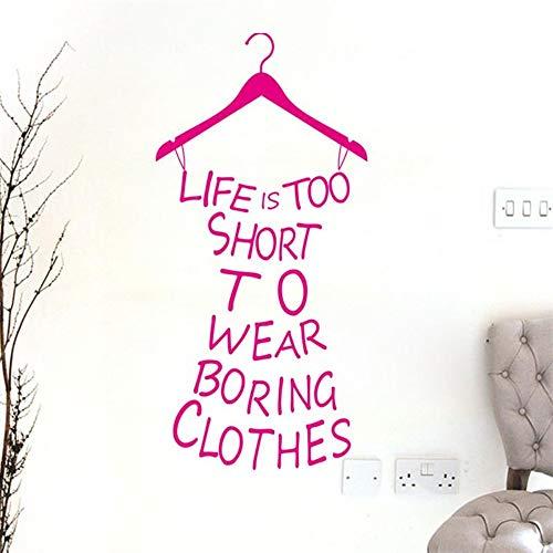 Das Leben ist zu kurz, um langweilige Stoffzitatwandaufkleber zu tragen lustiges Kleidform-Vinylwandkunst für Mädchenraumhauptdekorwandgemälde