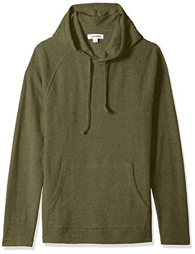 Marca Amazon - Goodthreads - Sudadera térmica flameada de manga larga con capucha para hombre, Verde (olive), XS