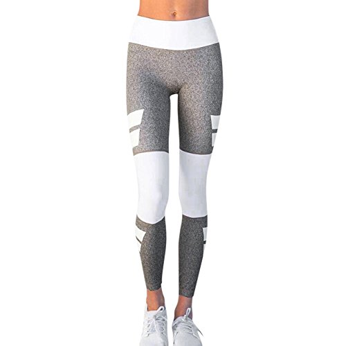 YWLINK Damen Hohe Taille Sporthalle Yoga LäUft Fitness Leggings Hosen Sporthose(L,Grau)