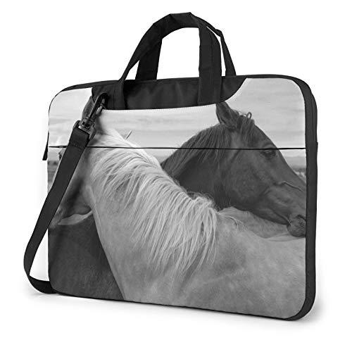 Bolsa de hombro para portátil – Búho en africano indio totem impreso a prueba de golpes impermeable portátil bolso bolso mochila, Caballo Blanco Y Caballo Negro (Dorado) - 259841