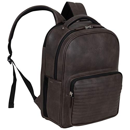 """Kenneth Cole On Track Pack Vegan Leather 15.6"""" Laptop & Tablet Bookbag Anti-Theft RFID Backpack for School, Work, & Travel, Brown, Laptop"""