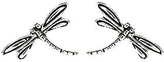 Pendientes libélula Plata de Ley envejecida - Pendientes insectos plata