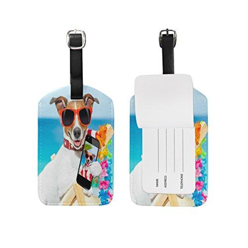 Domoko Summer Pug Puppy Beach Luggage Tags Travel ID Bag Tag 1 Piece