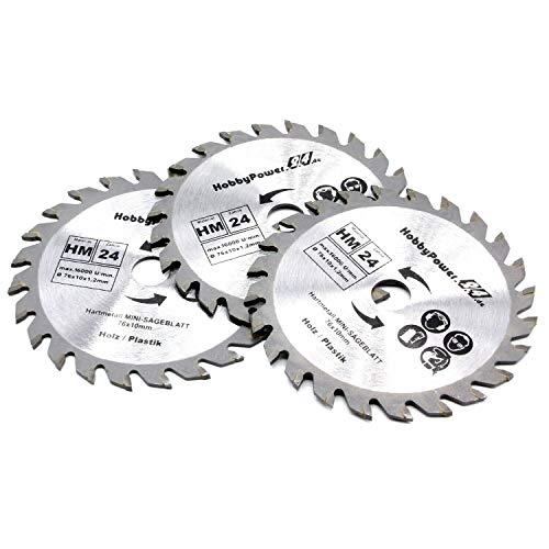 3x Sägeblatt 76 x 10 mm Akku Kreissäge 12V 10,8V passend für Bosch Metabo Milwaukee Mini Handkreissäge Tauchsäge