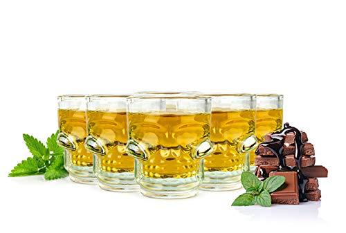 Sendez 6 Schnapsgläser in Totenkopf-Optik 4cl Shotgläser Schädel Schnaps Shots Stamper Vodkagläser