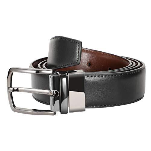 Zeuste-cinturon hombre,Cinturón Cuero Marrón Negro, Hebilla de cuero reversible de 1.25